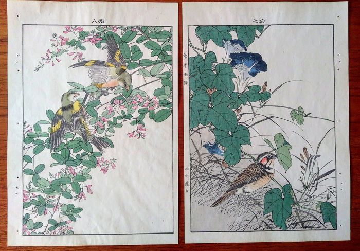"""Gravure, Houten gravure (2) - Imao Keinen (1845-1924) - 'Two finches and lespedeza' and 'Bunting and morning glory' - From """"Keinen kacho gafu"""" - 1891"""