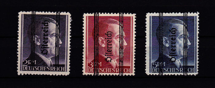 "Oostenrijk 1945 - 1945 provisional issue of the ""Grazer Provisorien"" (Graz provisionals) with 12½ perforation - ANK Austria Netto Katalog 694/696 Type I"