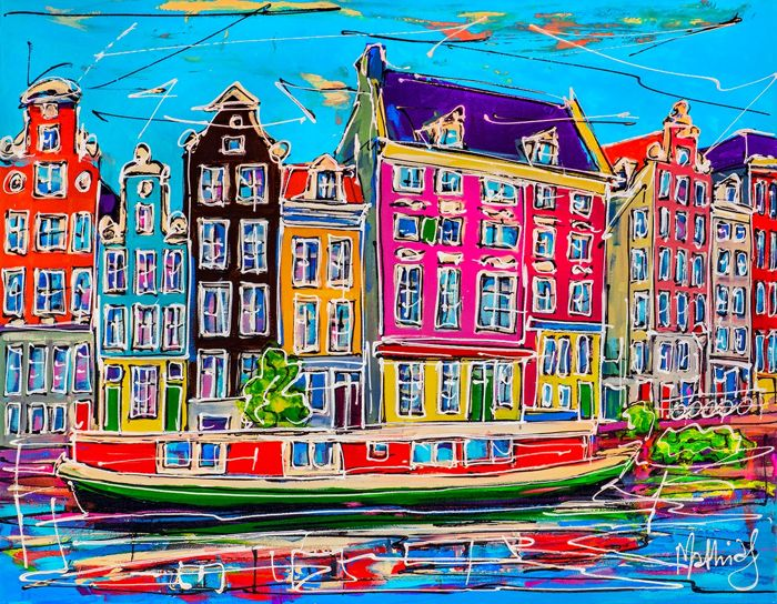 Mathias - Canal of Amsterdam, red house boat