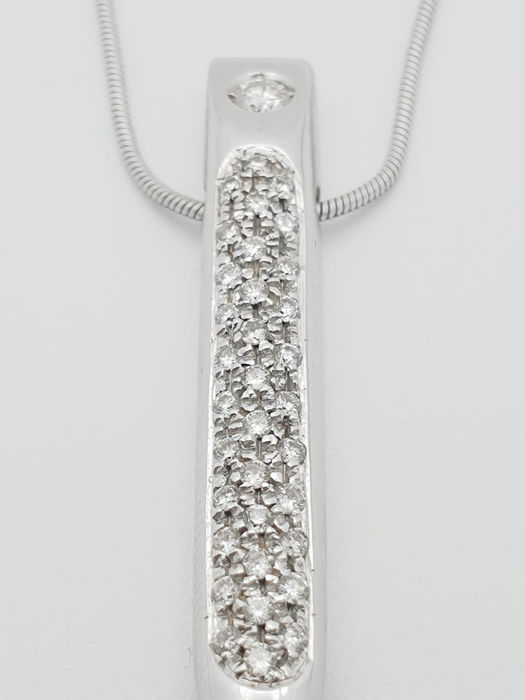 18 kt. White gold - Necklace with pendant Diamond - Diamonds