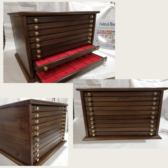 Used, 10-drawer wooden coin case - 20 vassoi - MADE IN ITALY Coins & Banknotes Coin Accessories for sale