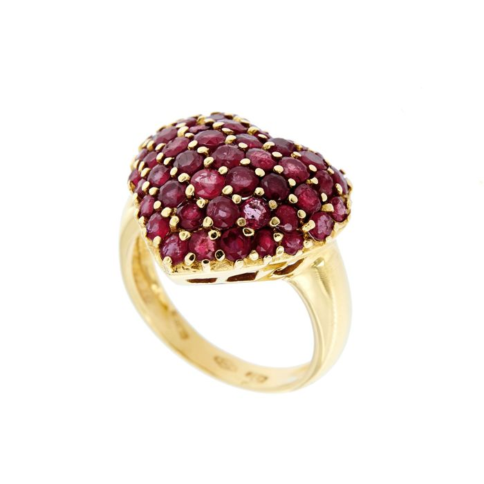 Made in Italy - 18 kt. Yellow gold - Ring - 4.00 ct Ruby