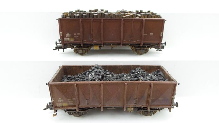 Artitec H0 - 20.231.02/20.231.04 - Freight carriage - 2 GTU two-axle coal wagons with load - NS