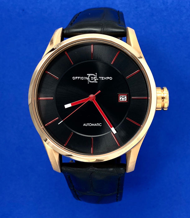 "Officina del Tempo - Minimal Style Automatic Rose Gold - Red Hands  ""NO RESERVE PRICE"" - OT1033-4300NRN - Homme - BRAND NEW"
