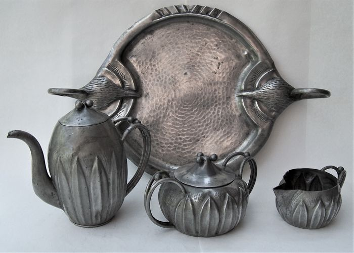A E Chanal - Tea set & tray (4) - Art Nouveau - Pewter