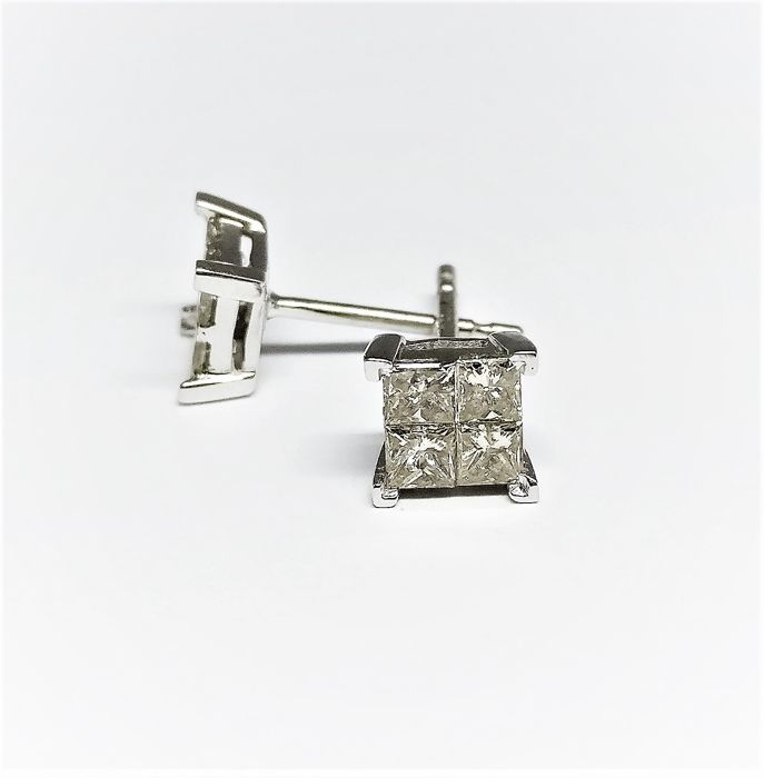 14 kt. White gold - Earrings - 0.80 ct Diamond