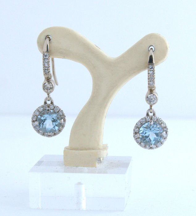 14 kt. White gold - Earrings - 2.80 ct Topaz - Diamond