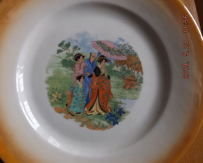 "Zsolnay - China- Cake Oriental Pattern ""Beautiful Women in a Rich House"" - Porcelain"