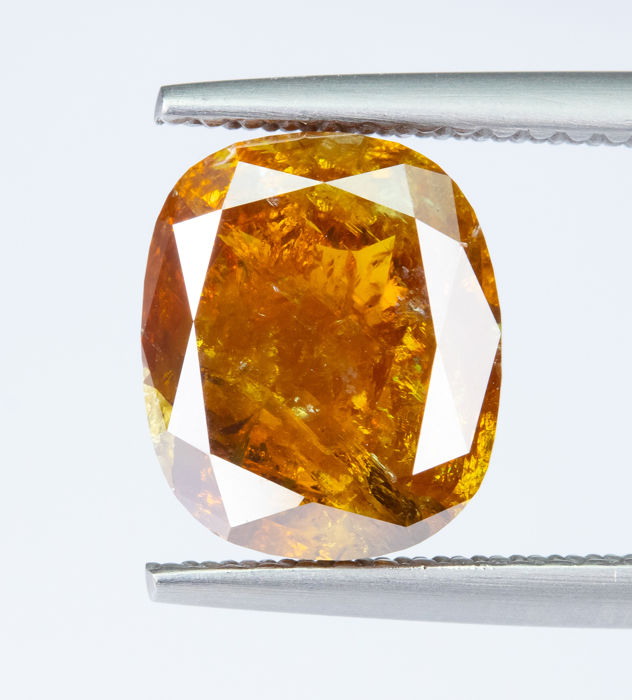 Diamant - 2.94 ct - Natural Fancy INTENSE Brownish Orange - I3  *NO RESERVE*