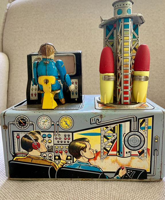 Nomura - Jupiter Rocket Launcher Tin Litho Space Battery Operated, 1950s - Japan