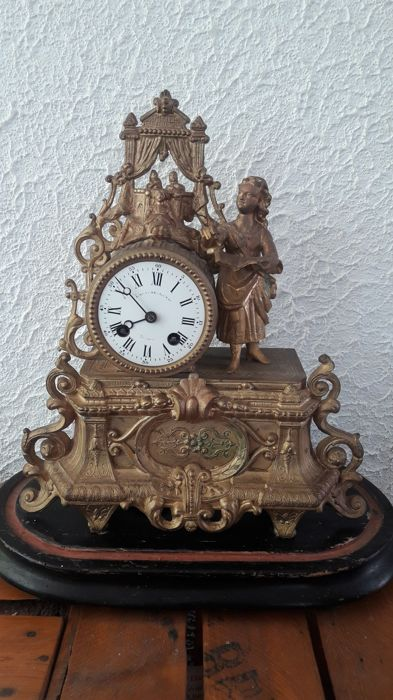 "French clock ""The Theater of Youth"" - Alexandre Prevost - gold plated, Zamac - mid 19th century"