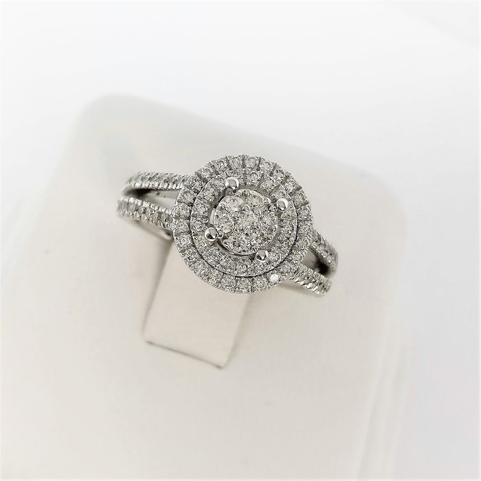 18 karaat Witgoud - Ring - 0.73 ct Diamant