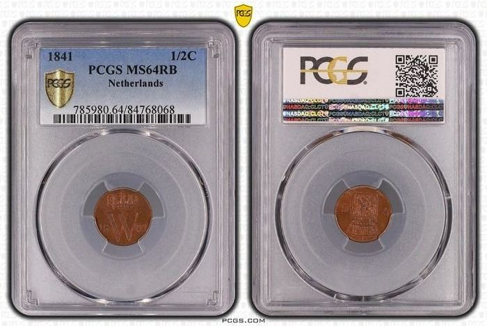 The Netherlands - Willem II - ½ Cent 1841 in PCGS slab MS64