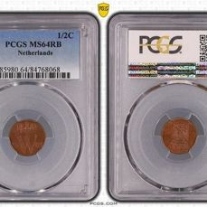 Países Bajos - Willem II - ½ Cent 1841 in PCGS slab MS64
