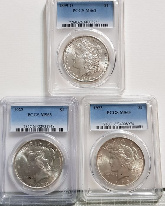 USA - Dollar (Morgan) 1899-O + Dollar (Peace) 1922 and 1923 in PCGS Slabs - Silver