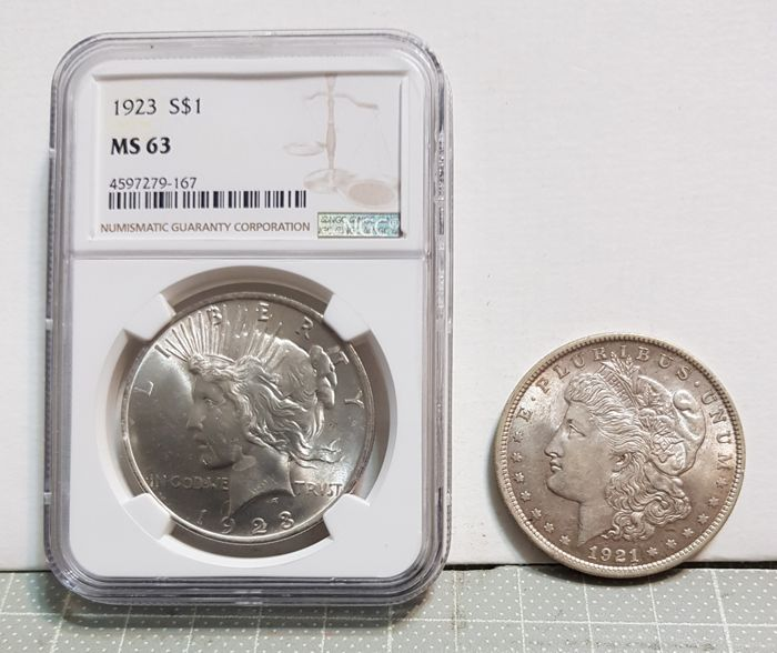 USA - Dollar (Morgan) 1921 + Dollar 1923 (Peace) in NGC Slab   - Silver
