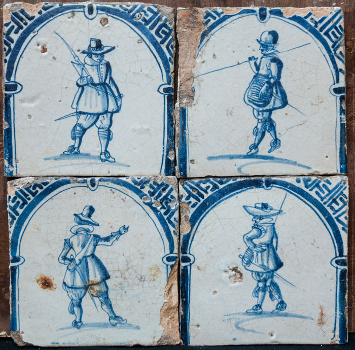 "Four rare 17th century blue ""gate tiles"". - Earthenware"