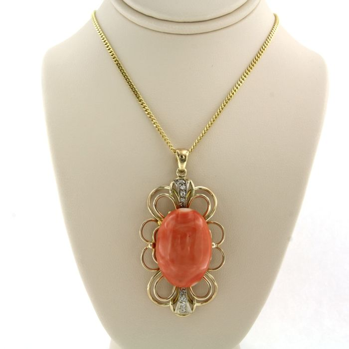14 kt. Yellow gold - Necklace with pendant Coral - Diamond