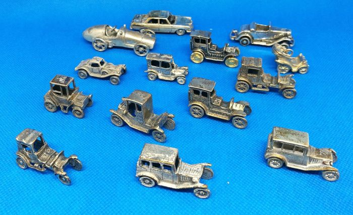 Fabulous Collection of Miniature Cars (14) - .800 silver - Italy
