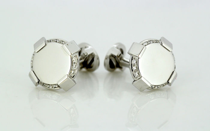 Versace - 18 kt. White gold - Cufflinks - Diamonds