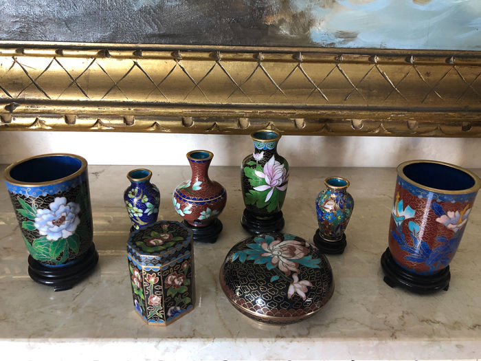 miniature pots, pill cases and tobacco holders (7) - Cloisonne enamel, Copper - China - Second half 20th century