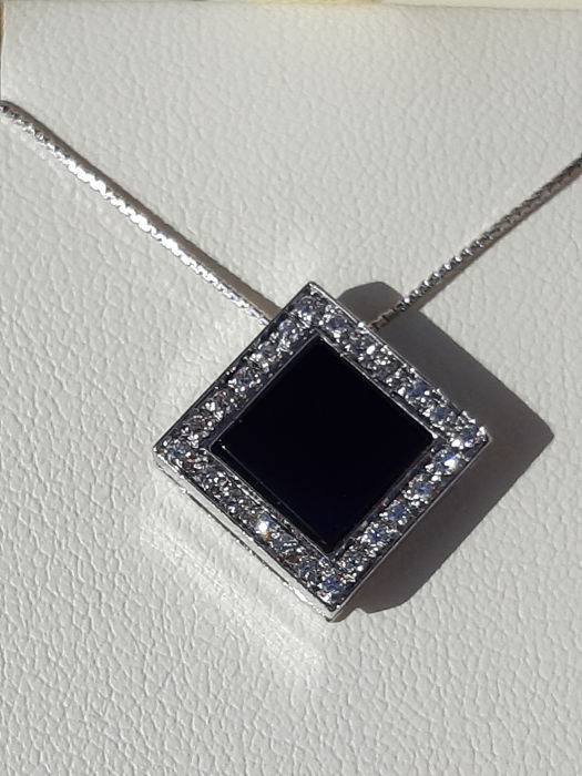 valenza gioielli - 18 carats Or blanc - Collier et pendentif - 1.50 ct onyx - Diamants