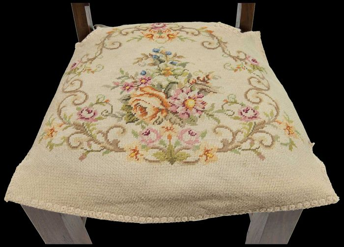 Aubusson style: seat upholstery, gros / petit point - Wool