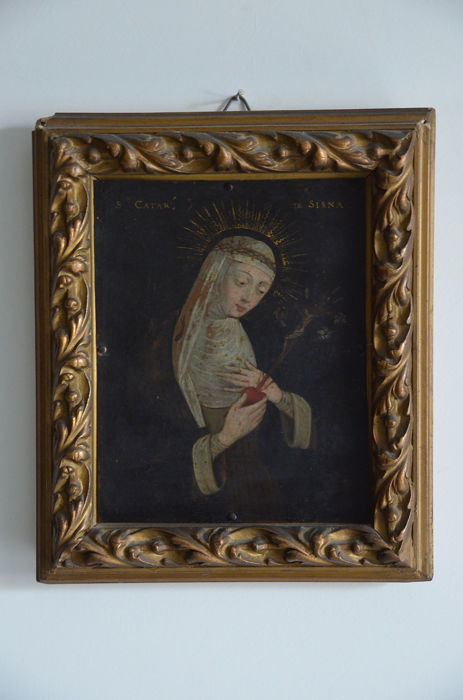 """Painting, """"Saint Catherine of Siena"""" (1) - oil on copper - Late 17th century"""