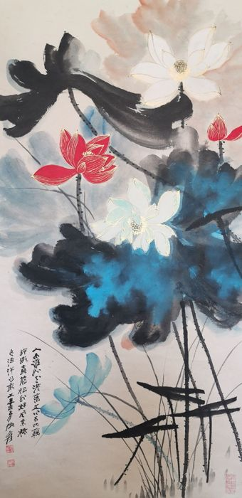Hanging Scroll Rice Paper Lotus Flower In Style Of Zhang Daqian