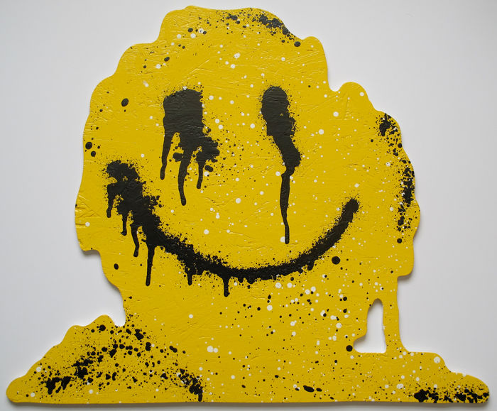 RYCA (Ryan Callanan) - Dripping Smiley Cut Out on Wood