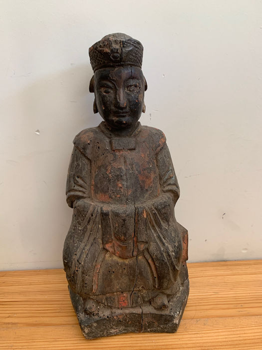 Statue (1) - Wood - Statuette taoiste  - China - Qing Dynasty (1644-1911)