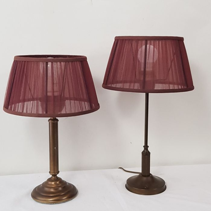 Table lamp with pleated fabric shade (2) - Bronze