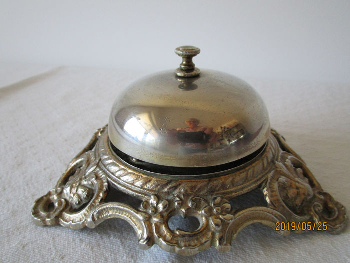 Antique hotel bell - cast iron and silver plated