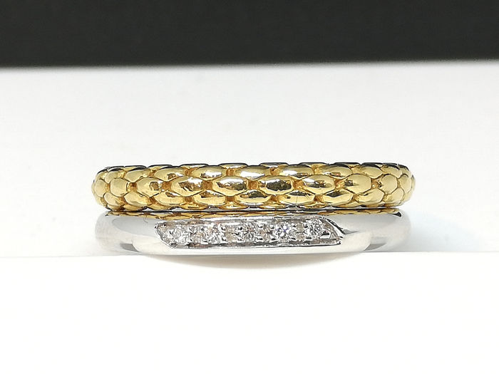 FOPE - 18 kt. GOLD White and Yellow - Ring - Diamonds