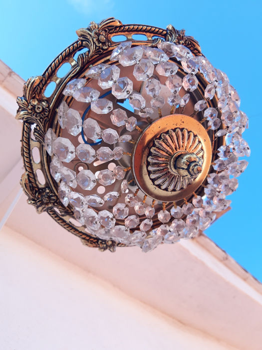 Ceiling lamp (1) - Bronze, Crystal