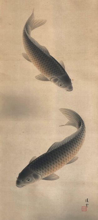 'Two Carps' - Beautiful original scroll painting - Handpainted on silk - Japan - First half 20th century
