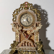 36 cm Large chimney or Table clock with angels in cream gold and pink - Regency Style - resin