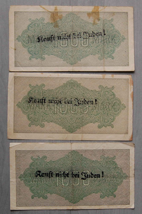 Germany - Third Reich - 3 banknotes with propaganda overprint - 1923