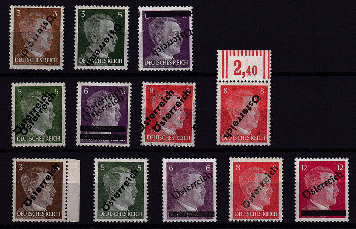 "Austria 1945 - Viennese provisional issue, curiosities ""offset transfer, upside-down D, double print"""