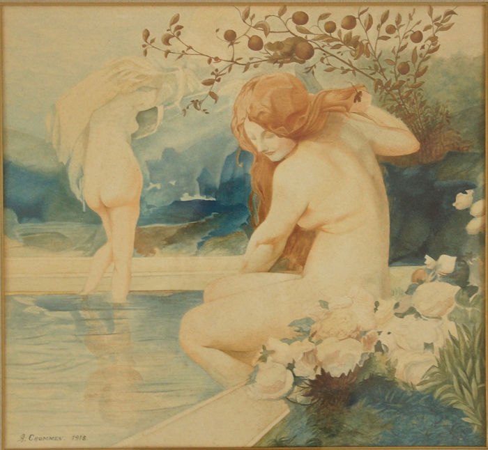 A. Crommen - Pair of Art Nouveau watercolors with bathing naked women