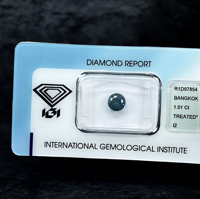 Diamant - 1.01 ct - Brillant - Fancy Blue - I2 - NO RESERVE PRICE
