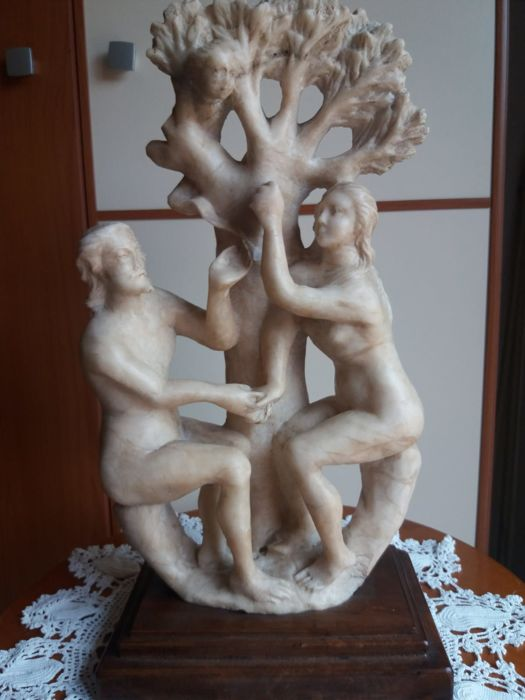 Alabaster sculpture group, Adam and Eve - mid-19th century