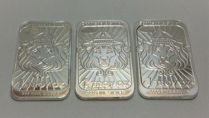 3 x 1 troy ounce (31.1 g ) - 銀 .999 - Scottsdale Silver