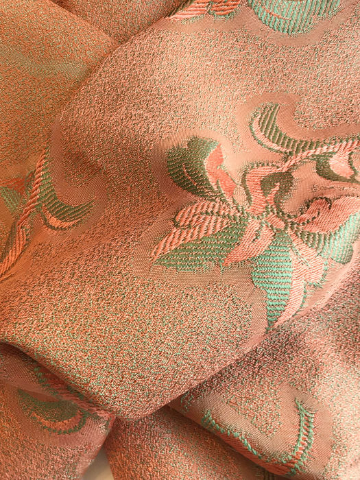 Old damask fabric with floral pattern, orange and dry green. - Without reservation. Perfect state