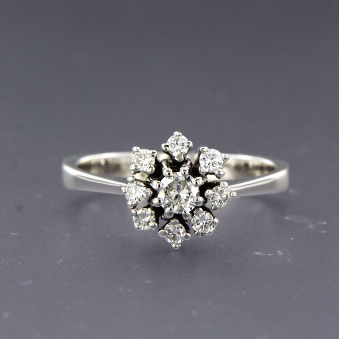 14 kt. White gold - Ring - 0.38 ct Diamond