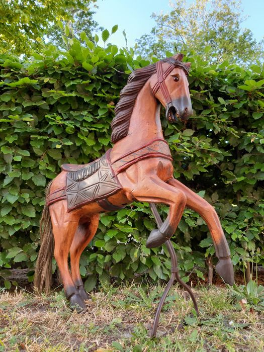 Wooden fairground carousel horse - handmade - painted polychrome - two different sides - Wood