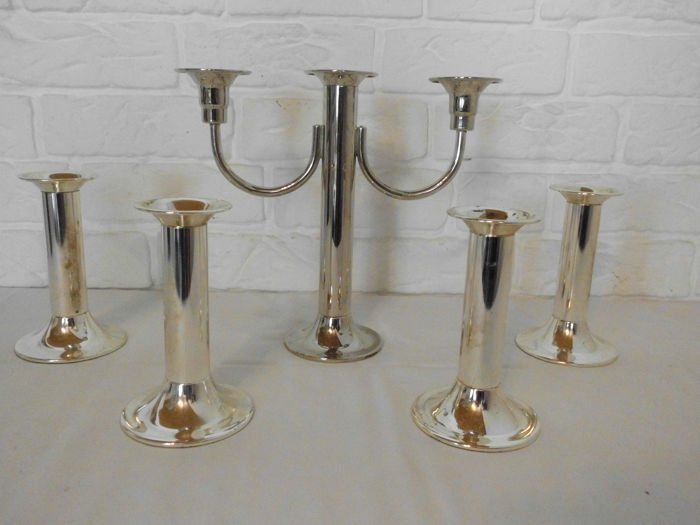 5 silver-plated candlesticks, beautiful on your dinner table - Silver plated metal