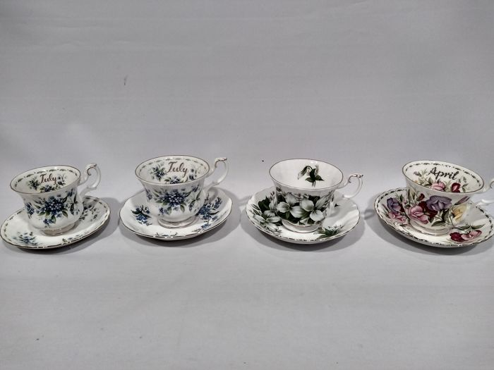 royal albert flower of the month - cup and saucers (8) - Porcelain