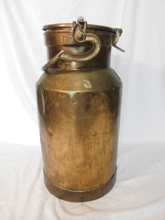 Coppered French milk can - Brass, Steel - First half 20th century