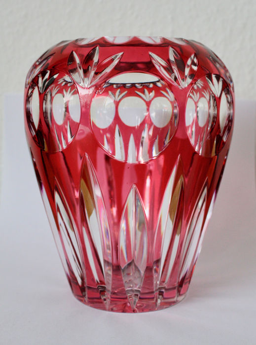 Nachtmann - Cut to Clear - Goldrubin - Oval Vase - Crystal